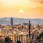 Sunset in España city